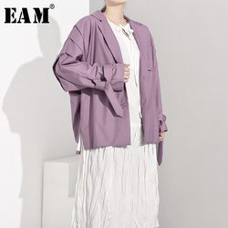 [EAM] Loose Fit Bandage Pleated Big Size Long Jacket New Lapel Long Sleeve Women Coat Fashion Tide Spring Autumn 2020 JI5861