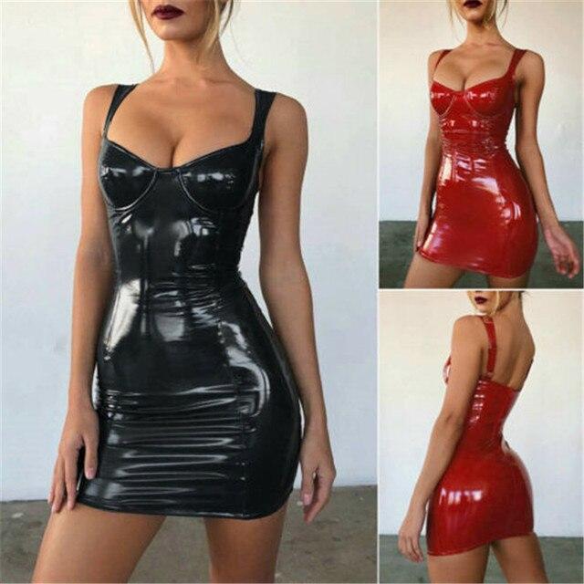 2021 Gothic Women Bodycon Dress PU Leather Autumn Winter  Vestido High Waist Sleeveless Sexy Mini Dress Women Clothing 2