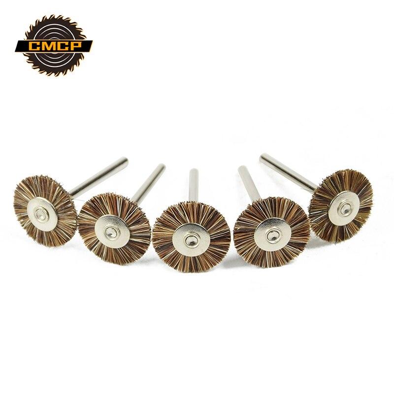5PCS 3.0mm Shank Brush Wheel Horse Hair Wire Brush Wheel Polishing Wheel Accessories Brush Rotary Tools