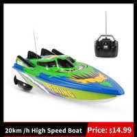Barco teledirigido de alta velocidad para niños y principiantes, barco a control remoto de 20 km/h, con motor controlado por radio, hélice doble, juguete de regalo