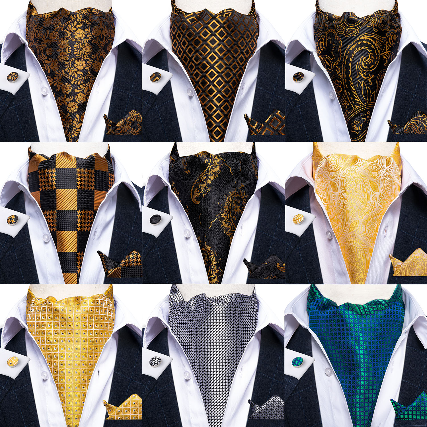 Party Classic Men Silk Cravat Ascot Tie Pocket Square Wedding Floral Paisley Plaid Polka Dot Ascot Necktie Cufflinks Set DiBanGu