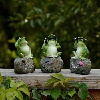 צפרדעים גן פסלי צפרדעים יושב על אבן פסלי גן חצר צפרדעים גינון אבן קישוטי קישוט #8