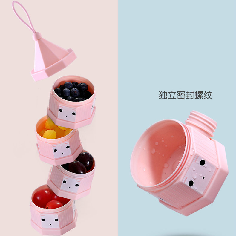 Creative Portable Milk Container Infant Milk Box Separate Layered Washable Baby Supplementary Food Box Large Capacity Snack Box