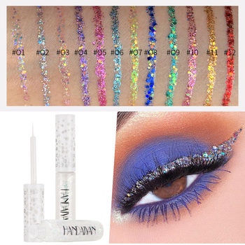 12 Colors Shimmer Flash Liquid Eyeliner Glitter Eyeshadow for Easy To Wear Waterproof Liquid Eyeliner Beauty Eye Liner Makeup