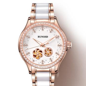 RUNOSD Rose Gold Women's Watch Miyota Mechanical Movement Ceramic Bracelet Sapphire Crystal Bright Zircon Dial Stainless Steel 1