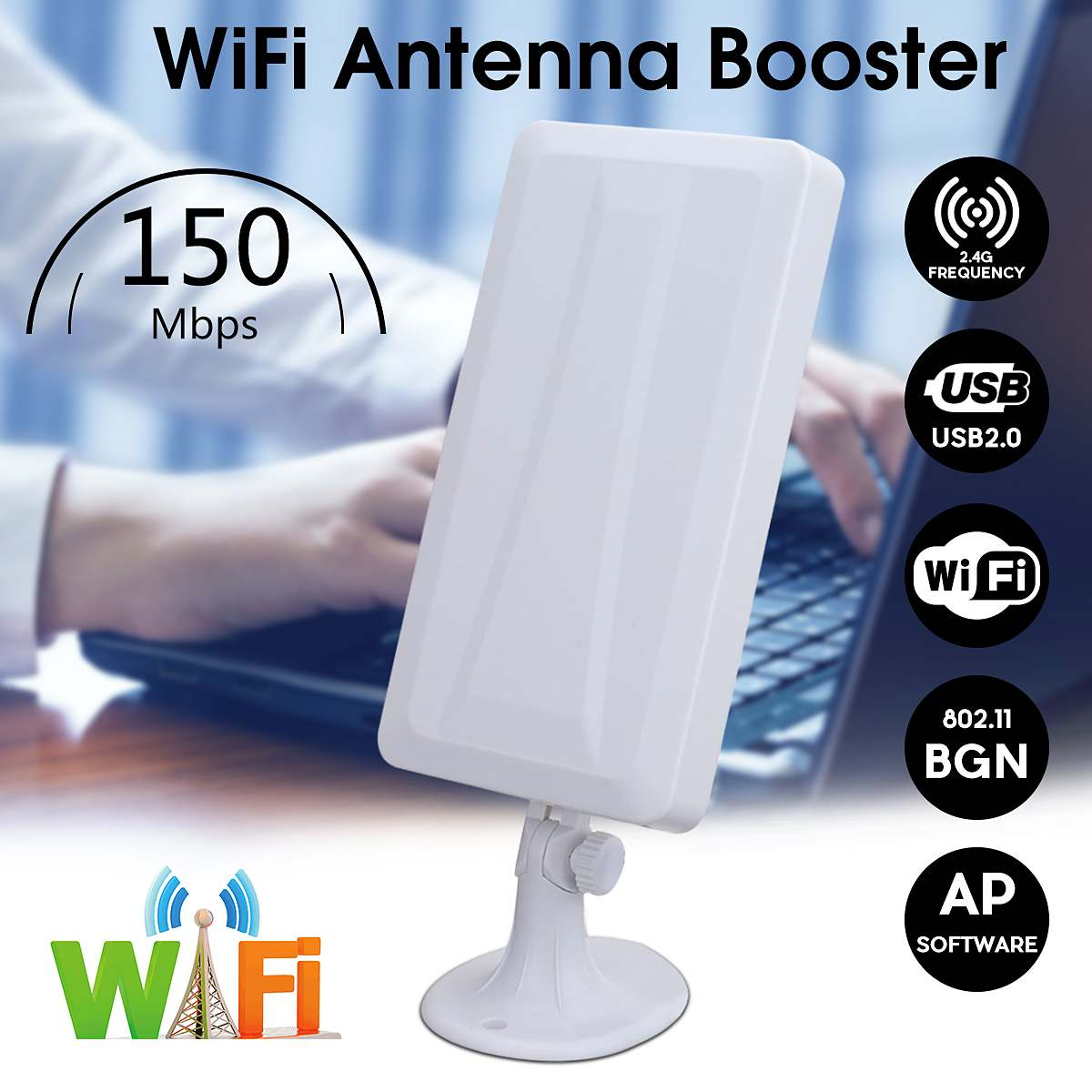 2.4GHz WiFi Antenna Outdoor Receiver 2500M Remote Wireless Amplifier Wifi Signal Extender USB Powered Home Office Adapter