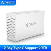 ORICO 2 Bay 3.5 inch USB C Hard Drive Enclosure Aluminum Support 20TB HDD Docking Station 5Gbps Large Capacity for HDD Case