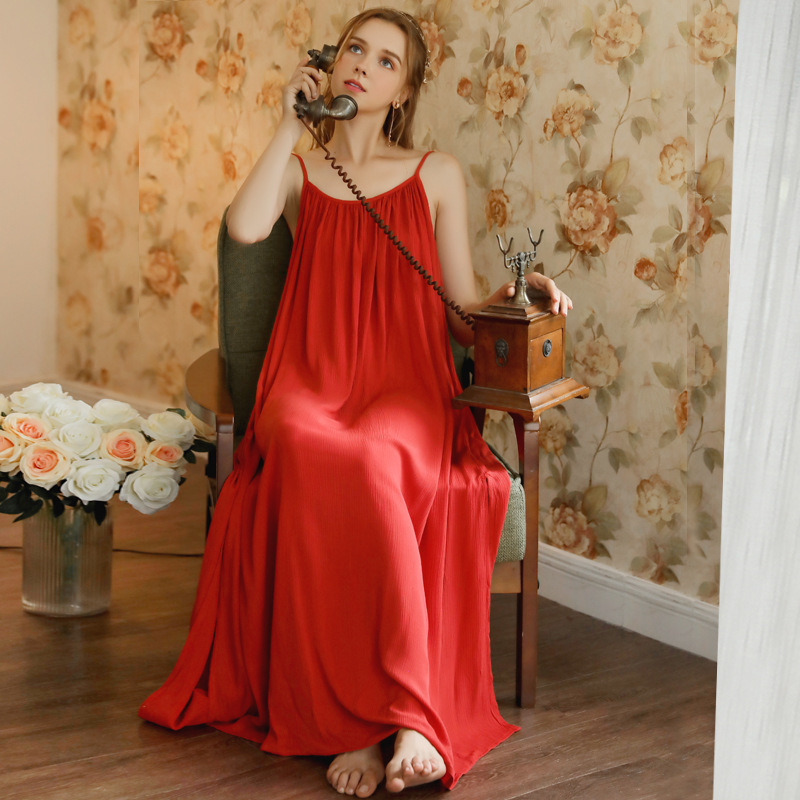 Image 2 - Women Spaghetti Strap Nightgown Wedding Birthday Solid Gown Pijamas Sexy Thin Summer Sleeveless Red Sleepwear Sleeping DressNightgowns & Sleepshirts   -