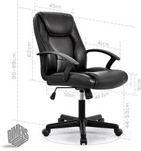 High-Back Executive Office Chair Faux Leather Large Seat Computer Desk Chair Ergonomic Design Adjustable Seat Height Black