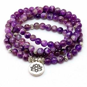 Pulseira ou colar de cristal roxo feminina, bracelete de pedra do buda mala 108 natural, joia de lótus