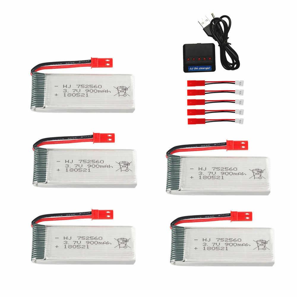 3.7v 900 2200mah のリポバッテリー充電器セットの X5 X5C X5SC X5SW 8807 8807 ワット A6 A6W M68 rc ドローン部品 3.7v 充電式バッテリー jst