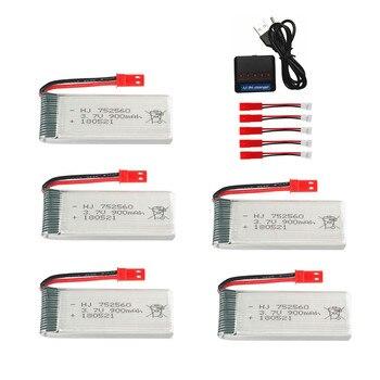 Conjunto de cargador de batería Lipo de 3,7 V y 900mAh para X5, X5C, X5SC, X5SW, 8807, 8807W, A6, A6W, M68, componentes para drones RC, batería recargable de 3,7 v, jst