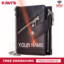 KAVIS DIY Engraving Genuine Leather Men Wallet Rfid Coin Purse Black Small Card Holder Chain PORTFOLIO Portomonee Male Walet Bag