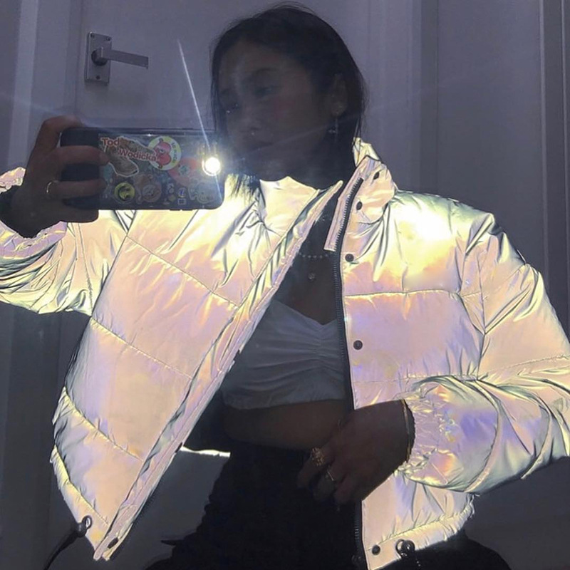 Cropped Jacket Coat Oversized Long-Sleeve Zipper Sexy Streetwear Reflective Thick Button title=