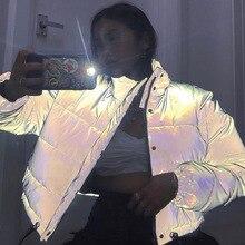 Reflective Gray Zipper Oversized Women Jackets Long Sleeve Button Loose Thick Cr