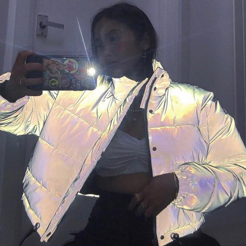 Riflettente Grigio Donne Giubbotti Button Manica Lunga Della Chiusura Lampo di Grandi Dimensioni Allentato di Spessore Giacca Corta Sexy Streetwear Cappotto di Inverno 2019