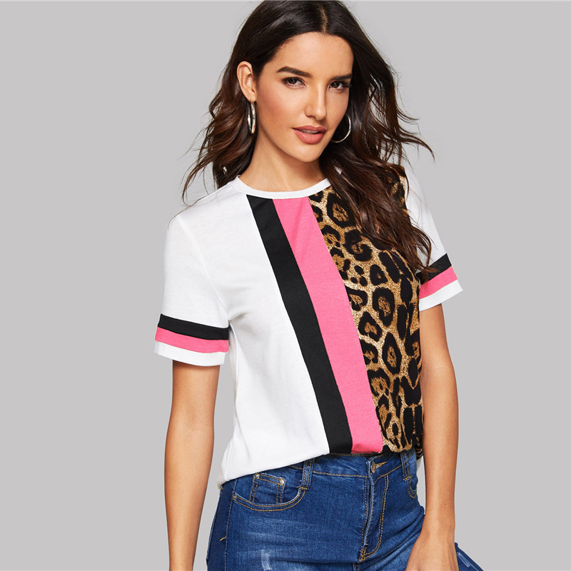 Block Cut-and-Sew Leopard Panel Top Short Sleeve O-Neck Casual T Shirt 82