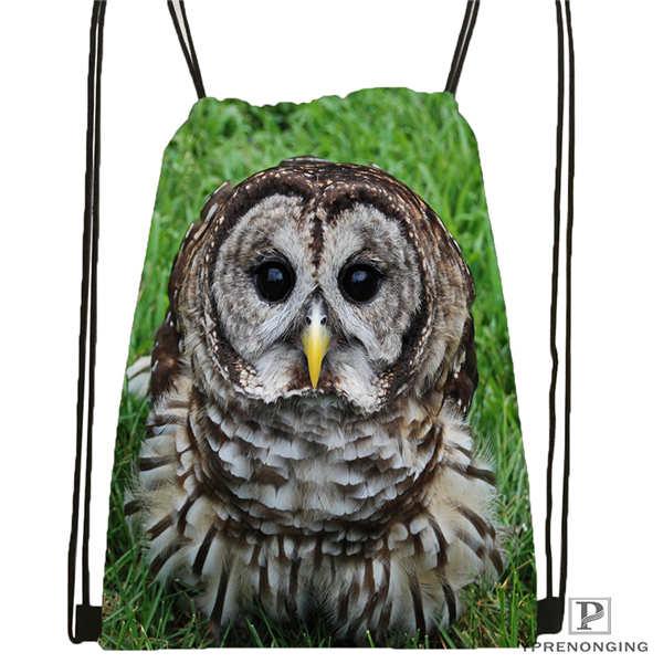 Custom Owl@01-Drawstring Backpack Bag Cute Daypack Kids Satchel (Black Back) 31x40cm#180611-03-133