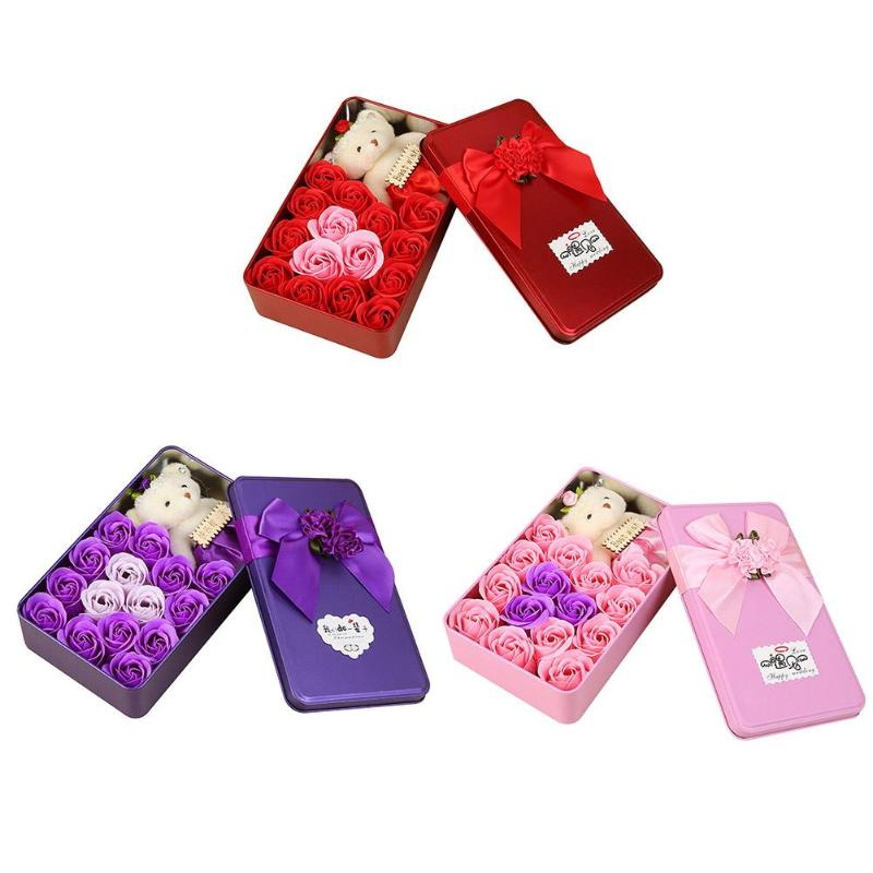 15pcs/Box Rose Flower Bath Scented Soap Bear Doll Iron Box Valentine Gift