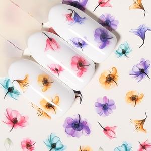 Image 2 - 1 лист наклейки для ногтей водяные цветы серии Маргаритка Лаванда наклейки для ногтей животные серии океан кошка растение переводная наклейка