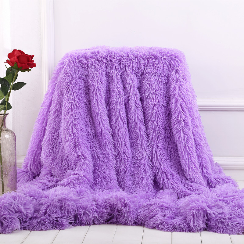 XC USHIO Super Soft Long Faux Fur Coral Fleece Blanket Warm Elegant Cozy With Fluffy Sherpa Throw Blanket Bed Sofa Blankets Gift