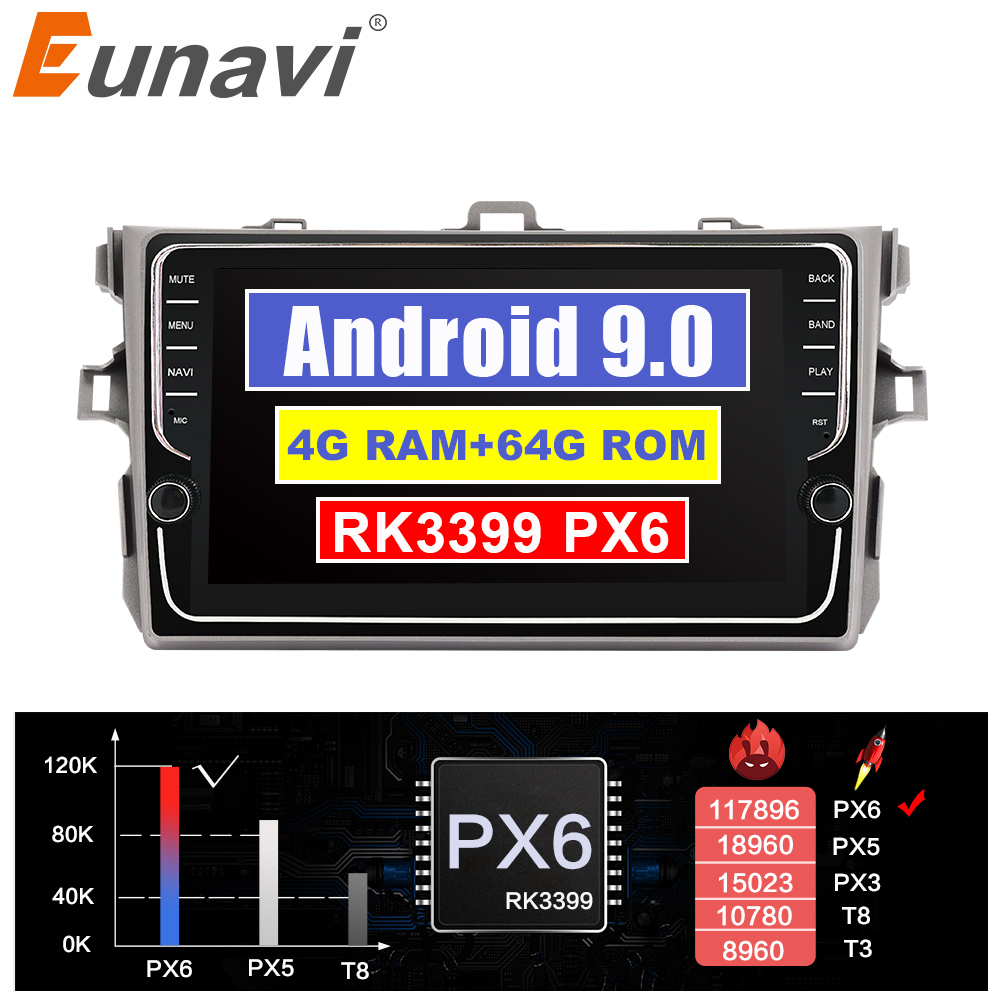 Eunavi 4G + 64G Octa 8 core android 9.0 auto dvd für Toyota Corolla E140/150 2007- 2011 multimedia auto radio gps navi PX6 Radio