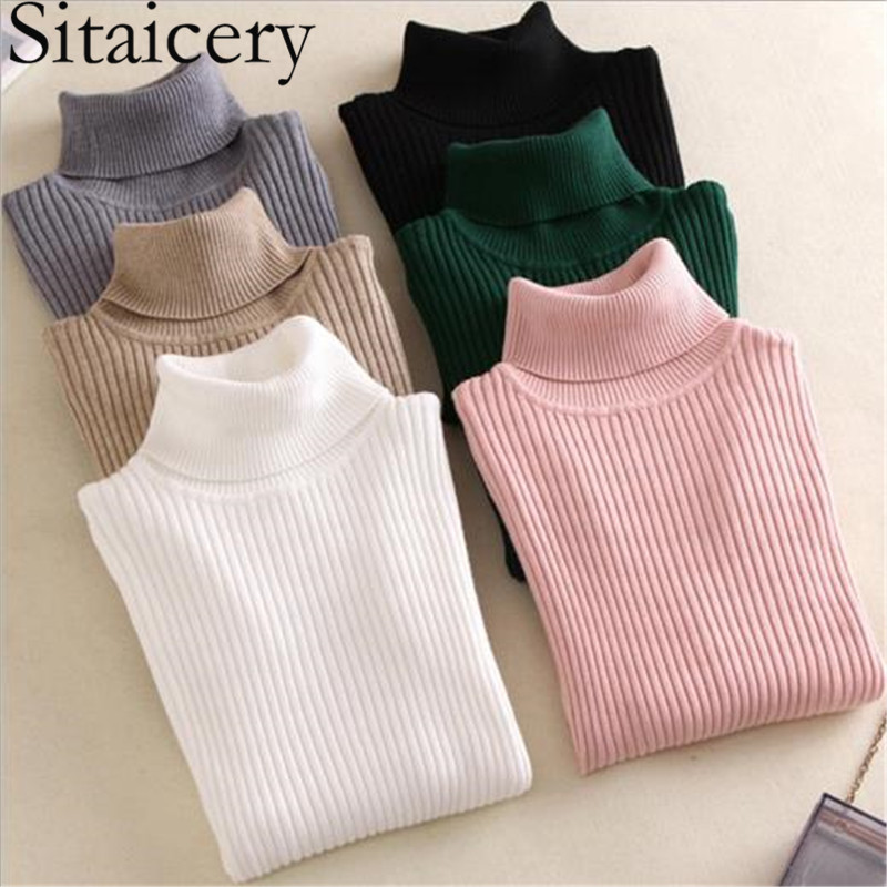 Sitaicery 2019 Winter Autumn Women Turtleneck Knitted Sweater High Collar Casual Soft Polo Neck-Neck Sweater Fashion Slim Pullov