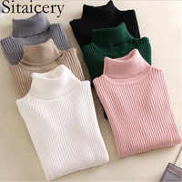 Sitaicery Spring Autumn Women's Turtleneck Knitted Sweater High Collar Casual Soft Polo Neck-Neck Sweater Fashion Slim Pullover