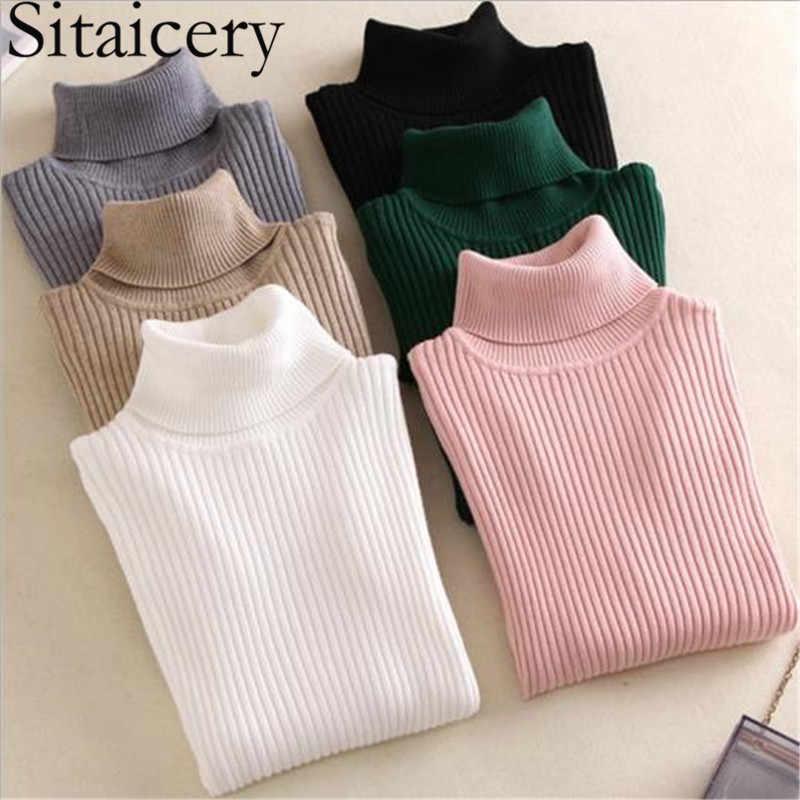 Sitaicery 봄 가을 터틀넥 니트 여성용 스웨터 하이 칼라 캐주얼 소프트 폴로 넥 넥 스웨터 패션 슬림 풀오버