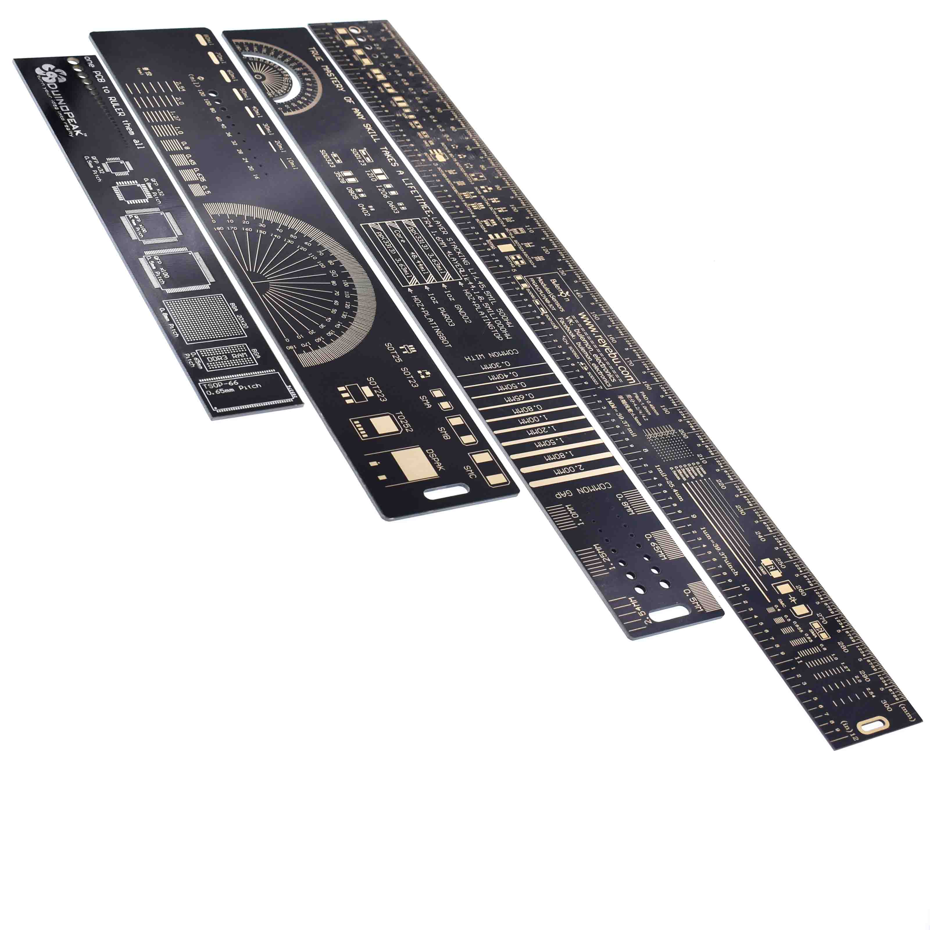 20cm 7.8 Inches Multifunctional PCB Ruler Measuring Tool Resistor Capacitor Chip IC SMD Diode Transistor Package 180 Degrees