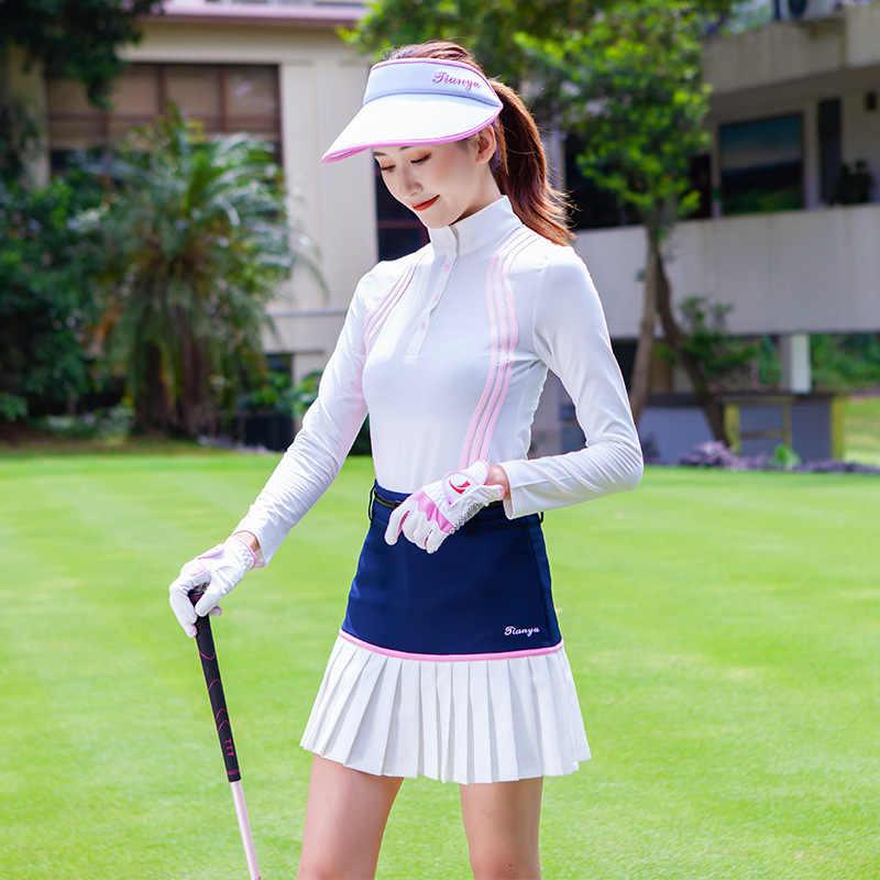 여자의 스트라이프 골프 셔츠 통기성 긴 소매 골프 탑 패션 슬리밍 훈련 t-셔츠 d0851