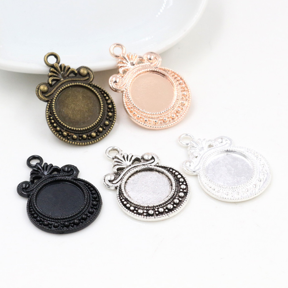 16pcs/lot 12mm Inner Size 5 Colors Fashion Style Cabochon Base Cameo Setting Charms Pendant