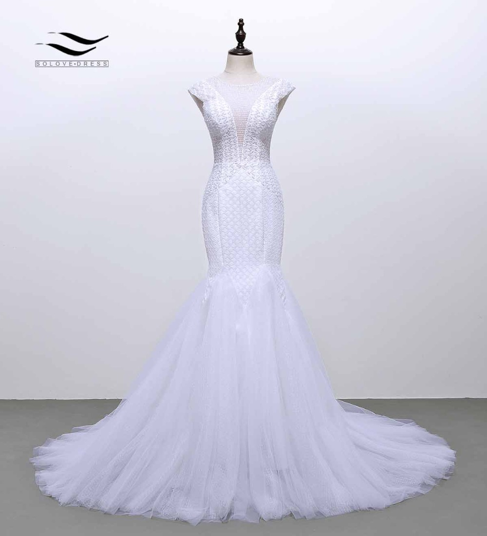 2019 Cap Sleeves O-Neck Beads Lace Mermaid Wedding Dress Trumpet Shiny Dots Tulle Bridal Wedding Gown Backless Luxury SLW102