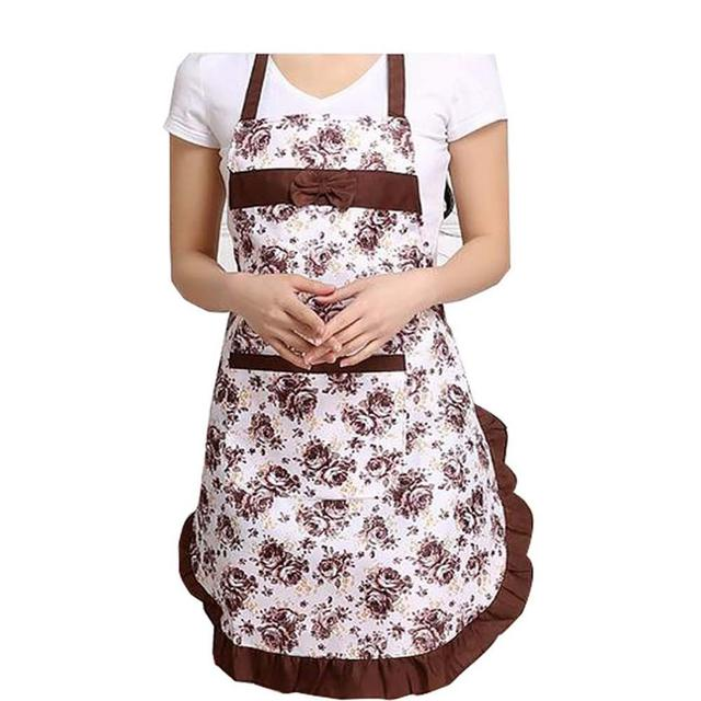 Oil-proof Cooking Apron For Women Adjustable Kitchen Cooking Coffee Shop Flower Printed Bowknot Cleaning Aprons With Pocket 2