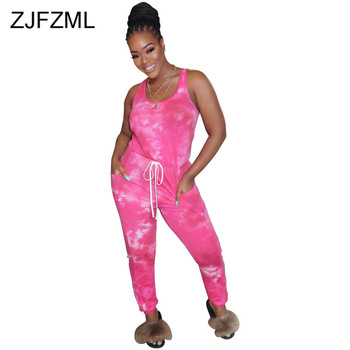 Elastic Waist Casual Plus Size Jumpsuits For Women Tie Dye Print Sleeveless Bodycon Romper Fashion Club Party One Piece Overall