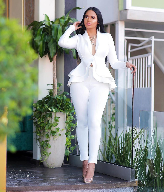Women Blazer And Pants Elegant Office Suit Slim Trouser Suit Autumn Winter Ruffles Work Pant Suits 2 Pieces Set Female Business