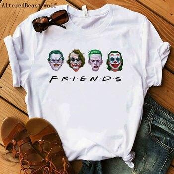 New2019 جوكر تي شيرت النساء أزياء مضحك الأصدقاء مطبوعة المتناثرة قصيرة الأكمام قميص أبيض المرأة عارضة شيرت بلايز الملابس