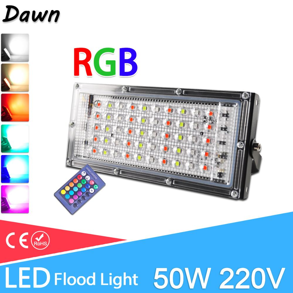 LED Flood Light 50W Real Power RGB Floodlight LED Street Lamp 220V 240V Waterproof Landscape Outdoor Lighting IP65 Led Spotlight