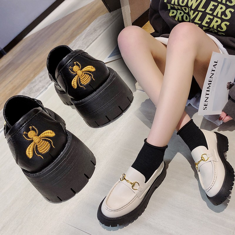 Spring 2020 Women's Embroidered Small Leather Shoes Increase Casual Wild Thick Bottom Bright Leather Shoes Pin Buckle Loafers