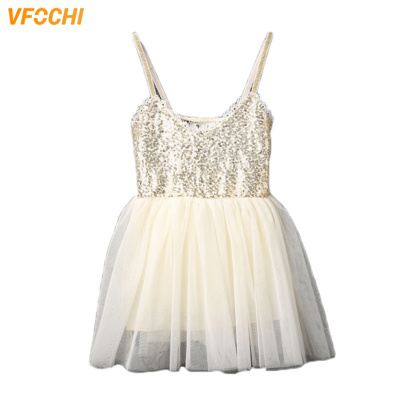 VFOCHI 2019 New Summer Girl Dresses Color White Sequin Girls Clothes Lace Baby Girls Strap Dress Kids Dresses for Girls 2 14Y in Dresses from Mother Kids