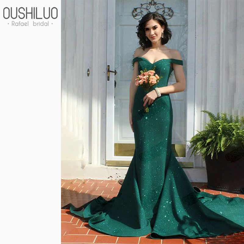 Elegant Emrald Prom Dresses Sequined Sweetheart Mermaid Party Dresses Off The Shoulder Court Train Formal Pageant Dress Gown