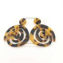 brown black hoop acrylic earring Bohemian earrings acetate tortoise shell geometric  Jewelry