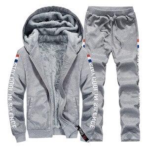Image 2 - Conjuntos de treino de inverno dos homens engrossar hoodies + calças terno dos homens primavera moletom esportivo conjunto masculino com capuz ternos esportivos roupas