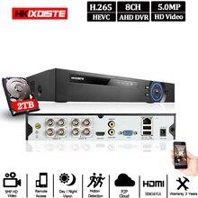 8ch ahd vídeo bidirecional gravador de áudio h.265 + 5mp 4mp 1080 p 8ch 6 em 1 híbrido dvr wifi xvi tvi ip nvr para cctv ahd câmera ptz