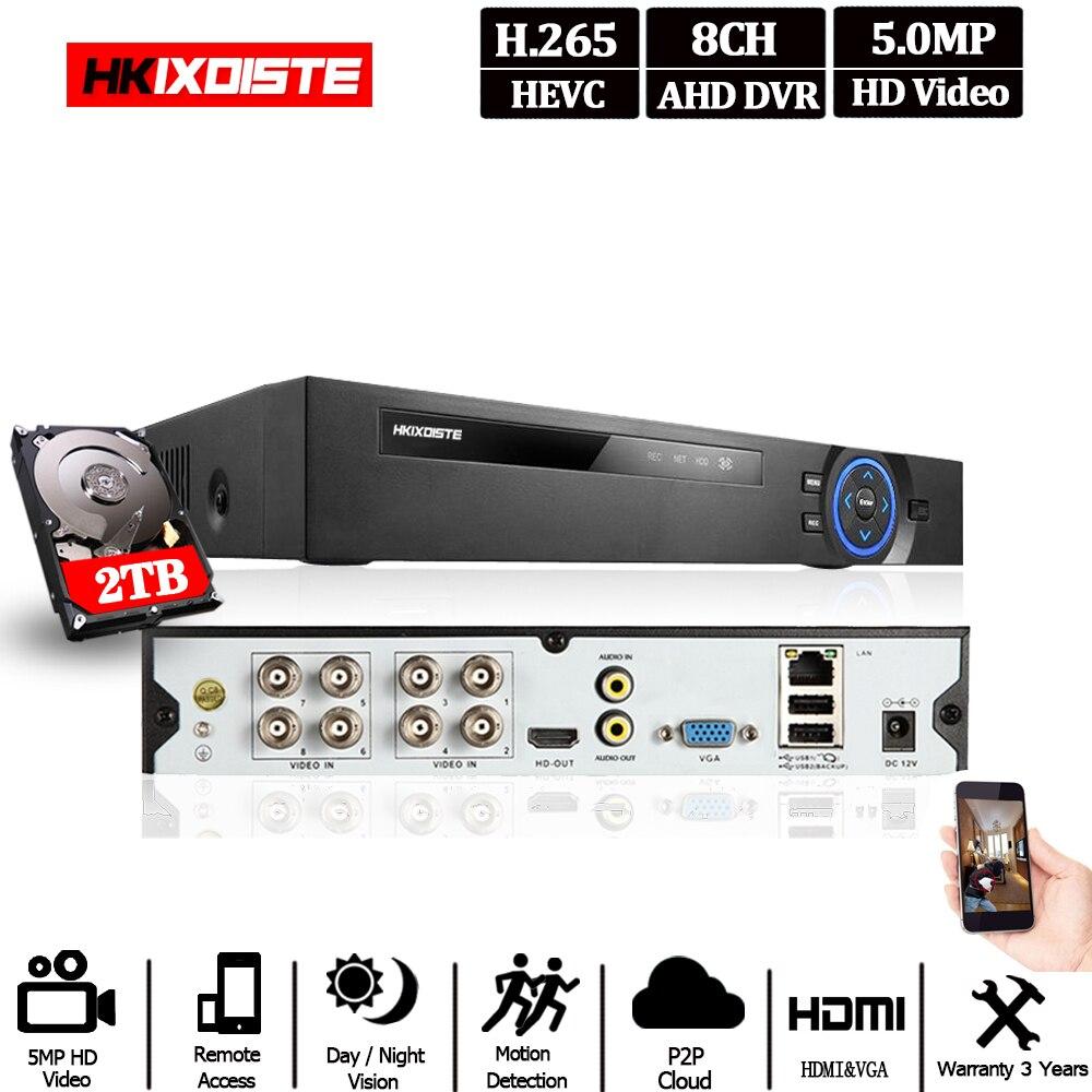 Enregistreur vidéo 8CH AHD H.265 5MP 4MP 1080P 8 canaux 5 en 1 hybride DVR Wifi XVi TVi CVI IP NVR pour caméras de vidéosurveillance à domicile