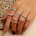 Modyle 7 Pcs/set Bohemian Beach Retro Simple Hollow Wave Geometry Ring Set Women Charm Jewelry Accessories