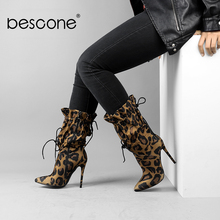 Купить с кэшбэком BESCONE Fashion Women Mid-Calf Boots Sexy Pointed Toe Leopard Print Thin Heel Shoes Handmade Microfiber Lace-Up Lady Boots H6