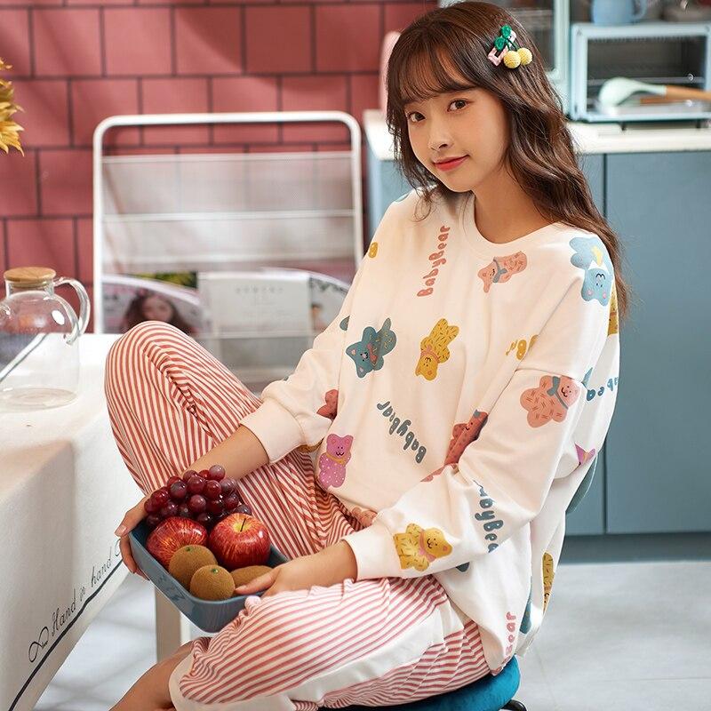 New Arrival Casual Pajamas For Women 100% Cotton Good Quality Spring Summer Girl's Pyjamas 2 Pieces Comfortable Night Sleepwear