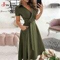 Frauen Sommer Langes Kleid Kurzarm V-ausschnitt Solide Vintage Elegante Chic Hemd Kleid Mit Gürtel Büro Damen Party Sommerkleid
