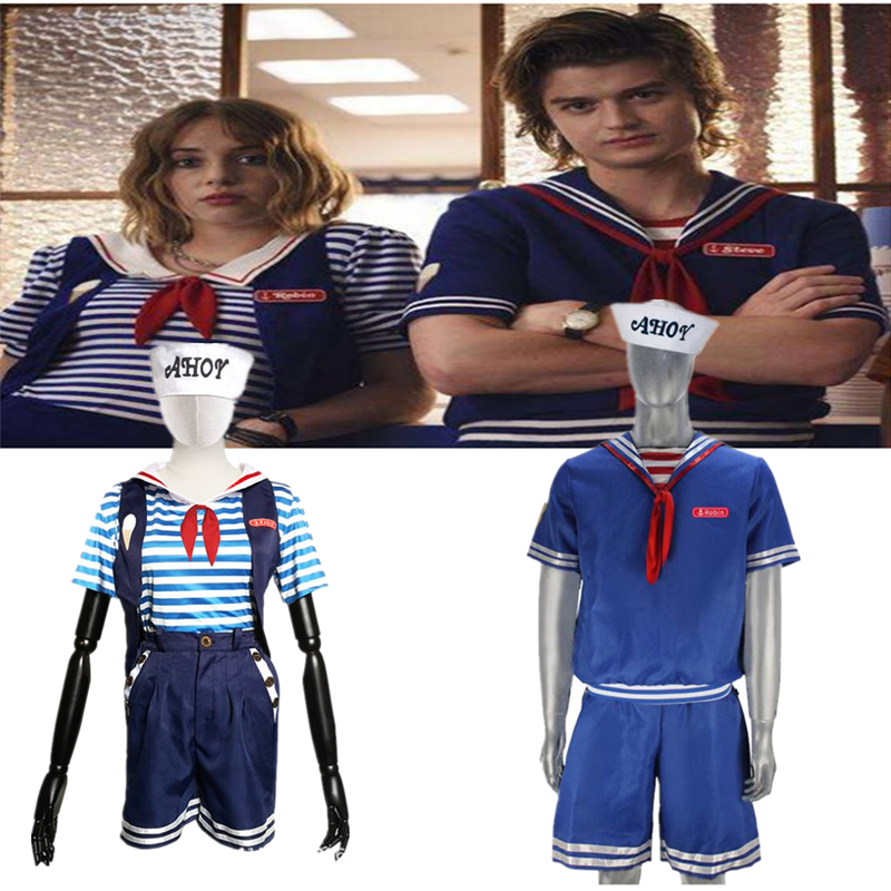 New Design Stranger Things Season 3 Cosplay Costume Robin Steve Harrington Scoops Ahoy Sailor Uniform Outfits Set Movie Tv Costumes Aliexpress